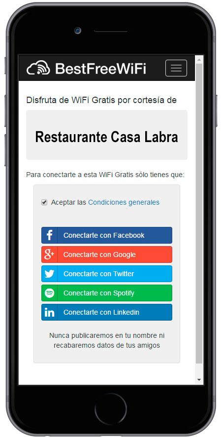 Hotspot con WiFi Social